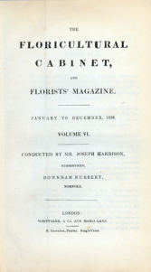 Title page from The Floricultural Cabinet and Florists Magazine, 1838