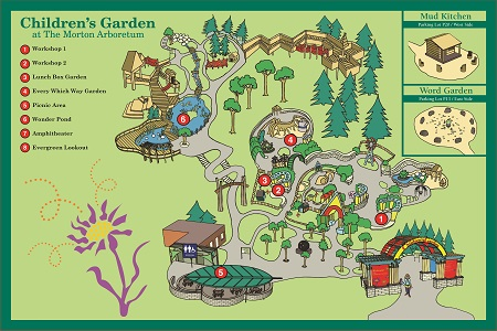 A map of the Children's Garden at The Morton Arboretum.