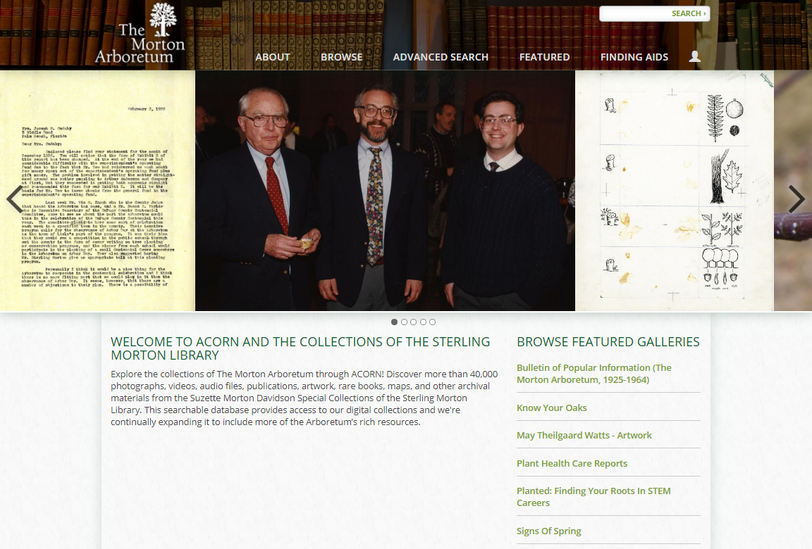 A screenshot of the ACORN homepage. It includes a bar depicting books for visual atheistic, a banner that shows various items in the collection, and links to click to take users to different collections.