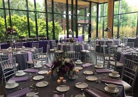 The Sycamore Room has sheer glass walls overlooking the Ground Cover Garden