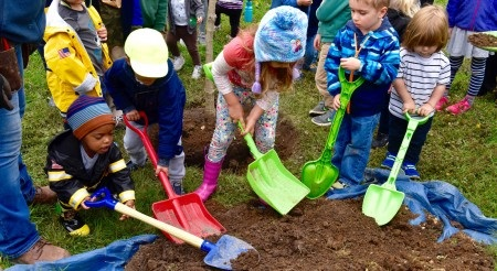 Children are planting a tree and using coloful shovels.
