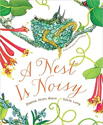 The cover of the book, A nest is noisy has a bird sitting on a nest.