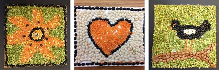 A variety of mosaics made from seeds.