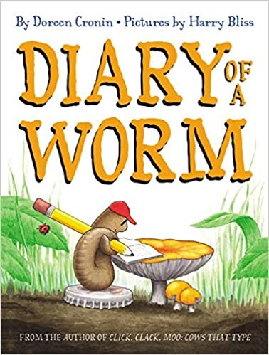 The cover of the book, Diary of a worm.