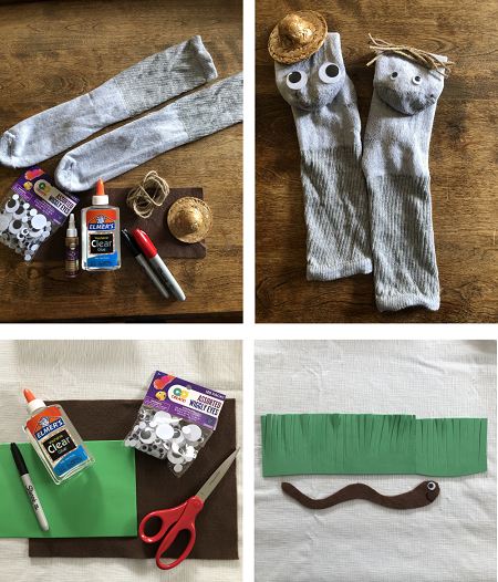 All the materials you need to make a worm sock puppet.
