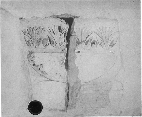 A black and white photograph of part of the tomb of Perneb. The photograph depicts a hieroglyphic  of a vase with flowers coming out of it. The hieroglyph is cracked down the center.