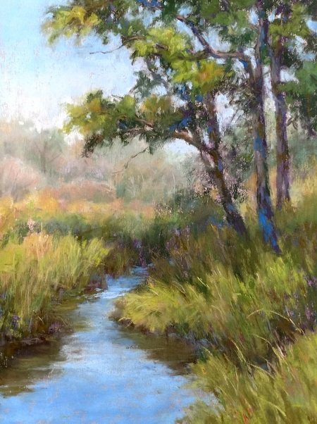 A painting of a creek and trees in summer.