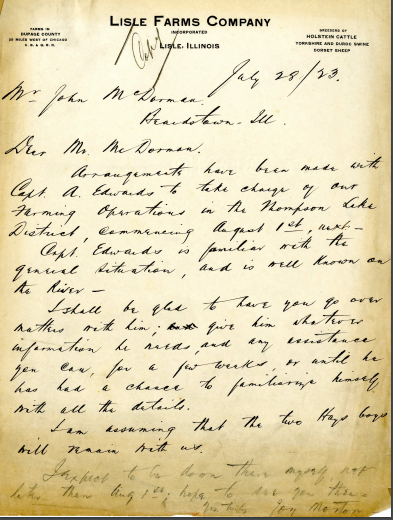A screenshot of a handwritten document from 1923. The handwriting is in cursive and the paper is browning.