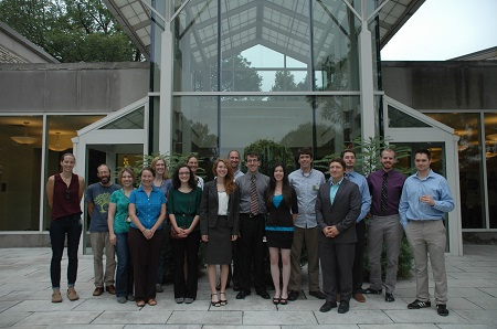 Undergraduate students and Morton staff in front of the Administration Building