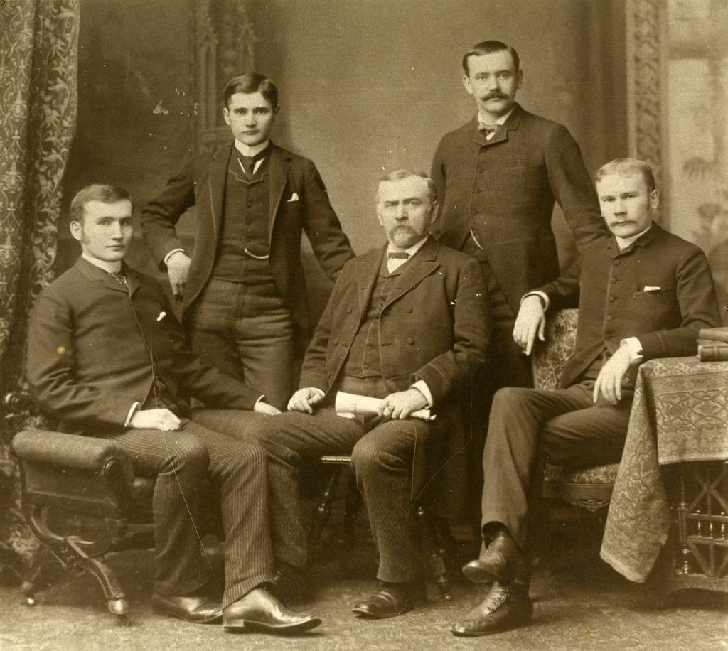 A sepia-toned photographic print depicting J. Sterling Morton with his four sons.