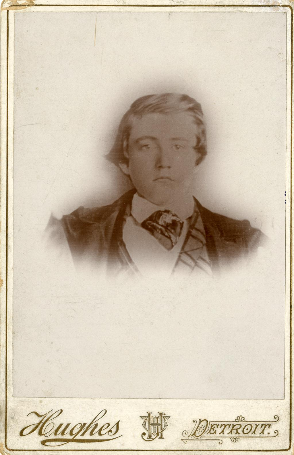 A sepia cabinet card of a 16-year-old J. Sterling Morton.