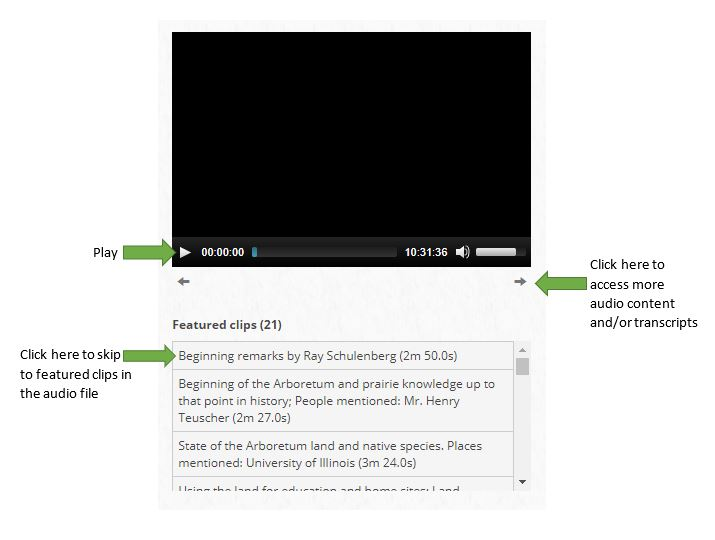 Screen capture showing how to navigate the audio display on ACORN.