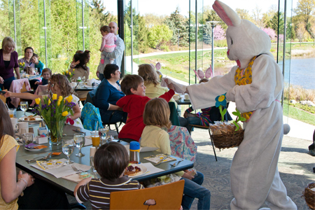 The Easter Bunny greeting visitors at breakfast