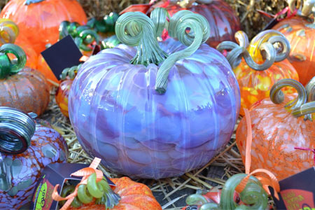 Hand-blown glass pumpkins in many colors