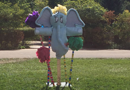 The Lorax character scarecrow created by local scout troops