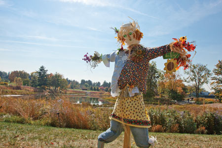 A scarecrow girl holding dried flowers in her outstretched hands
