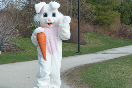 The Easter Bunny making his entrance via the Meadow Lake Trail