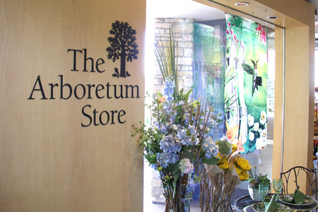 The Arboretum Store with hydrangeas in the background