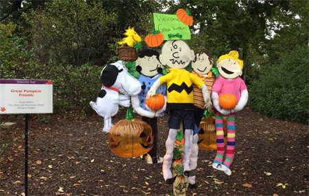 Peanut characters scarecrow created by local scout troops
