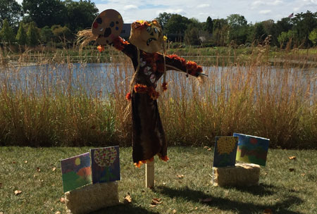 Scarecrow created by local scout troops