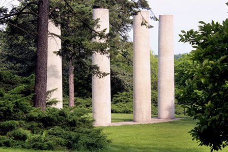 Four 19-foot tall white columns make a stunning focal point on the grounds