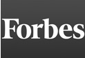 White lettering spelling Forbes on gray background