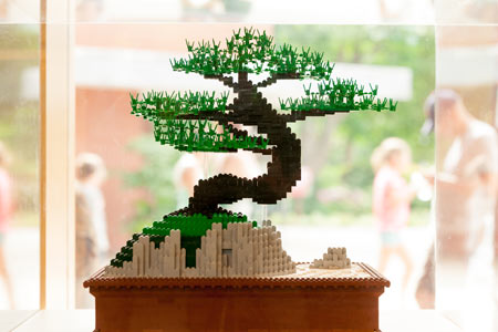 A bonsai tree made with LEGO® bricks