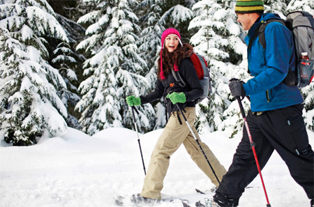 A couple cross-country skiing