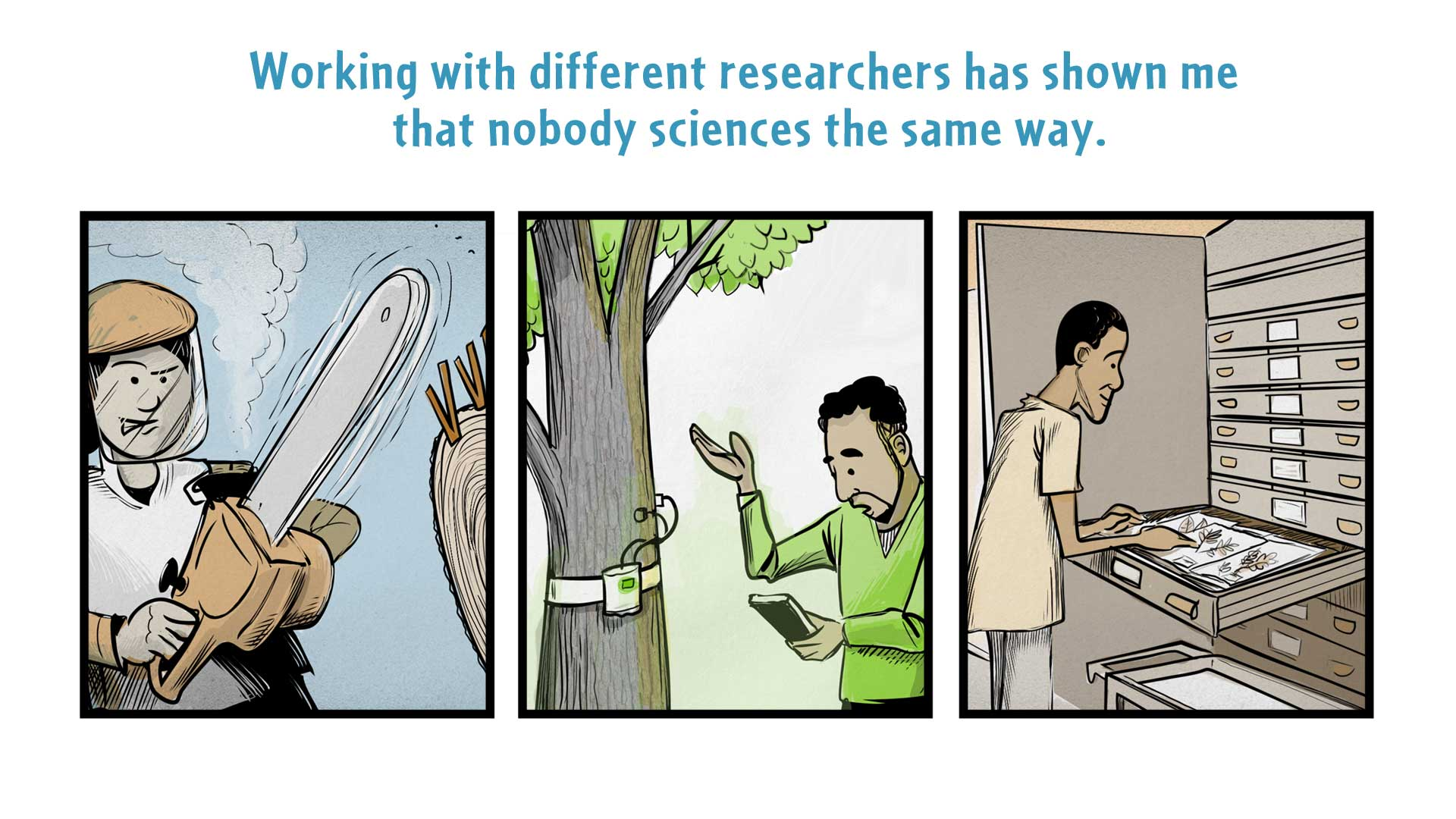 "Chloe, the narrator says, ""Working with different researchers has shown me that nobody sciences the same way."" On the left, a woman uses a chainsaw. In the middle, a man uses a device to measure a tree. On the right, a man stands at a large file cabinet, looking at dried plant specimens."