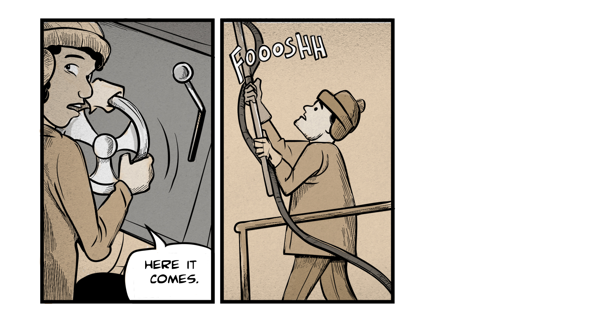 "The middle frame shows a man in a winter hat and gloves holding a pole attached to a hose. The hose makes a ""foooshh"" sound."