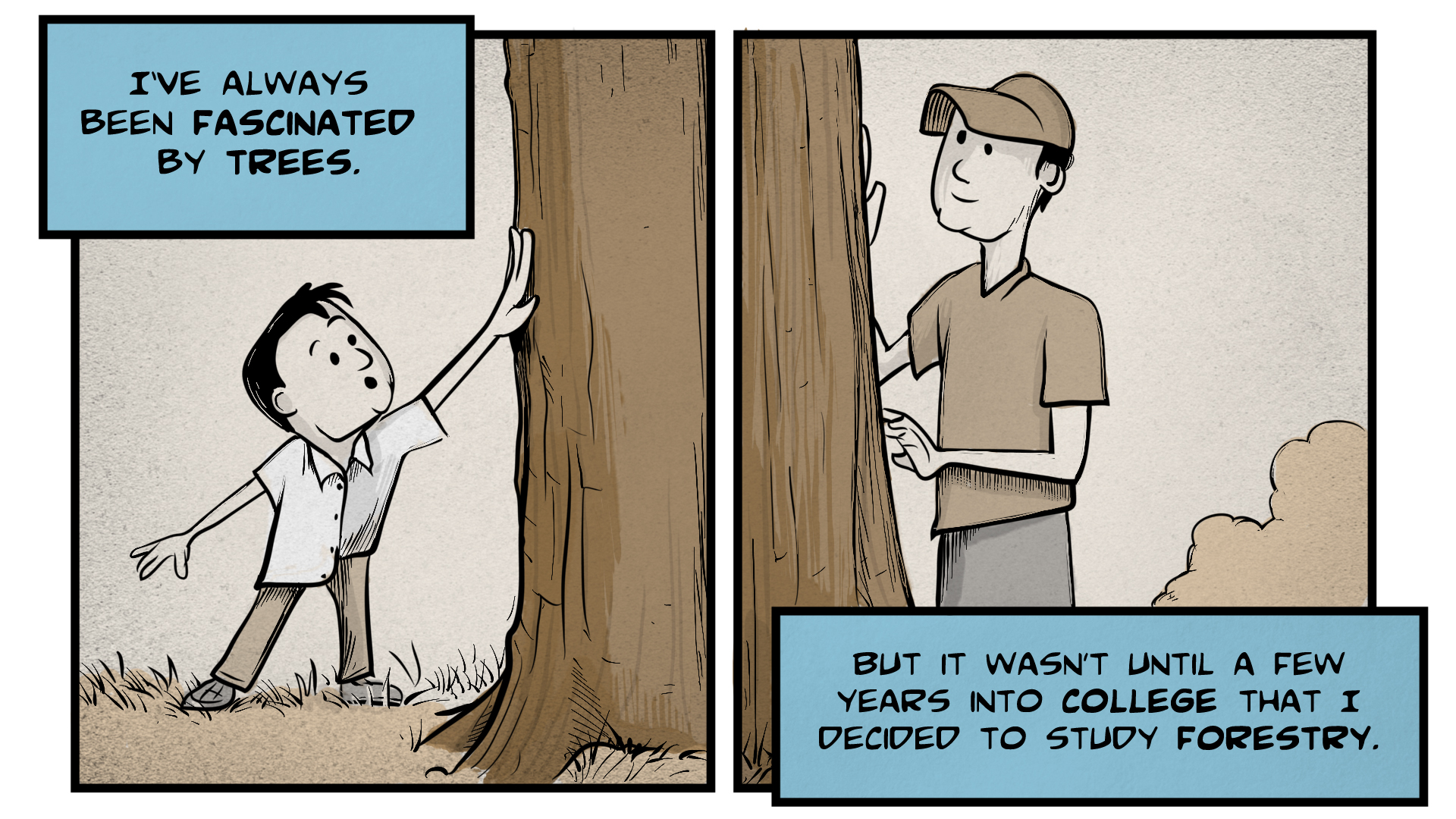 Right frame shows Danny as a young man wearing a baseball cap, touching a tree trunk.