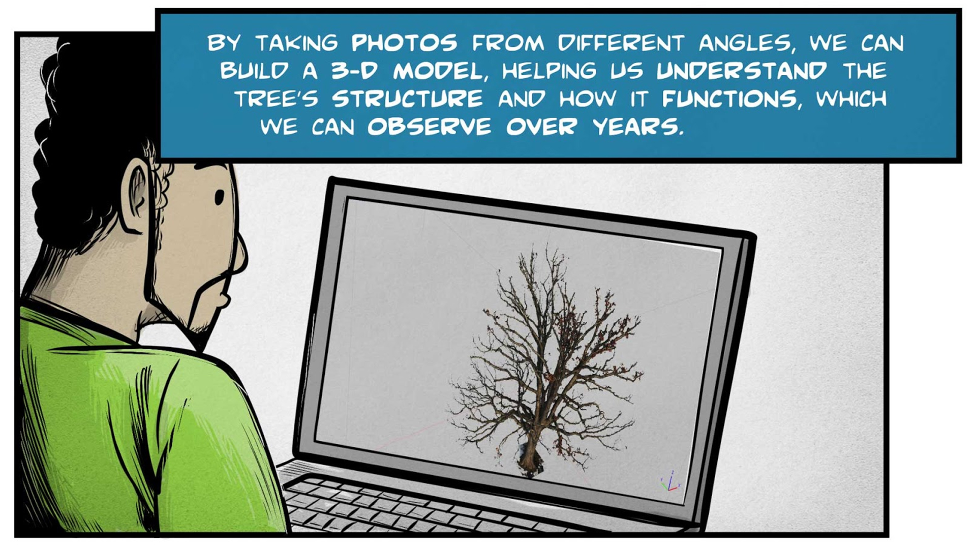 """Felix, the narrator, says, """"By taking photos from different angles, we can build a 3-D model, helping us understand the tree's structure and how it functions, which we can observe over years."""" He looks at a 3D model of a tree on a computer screen."""