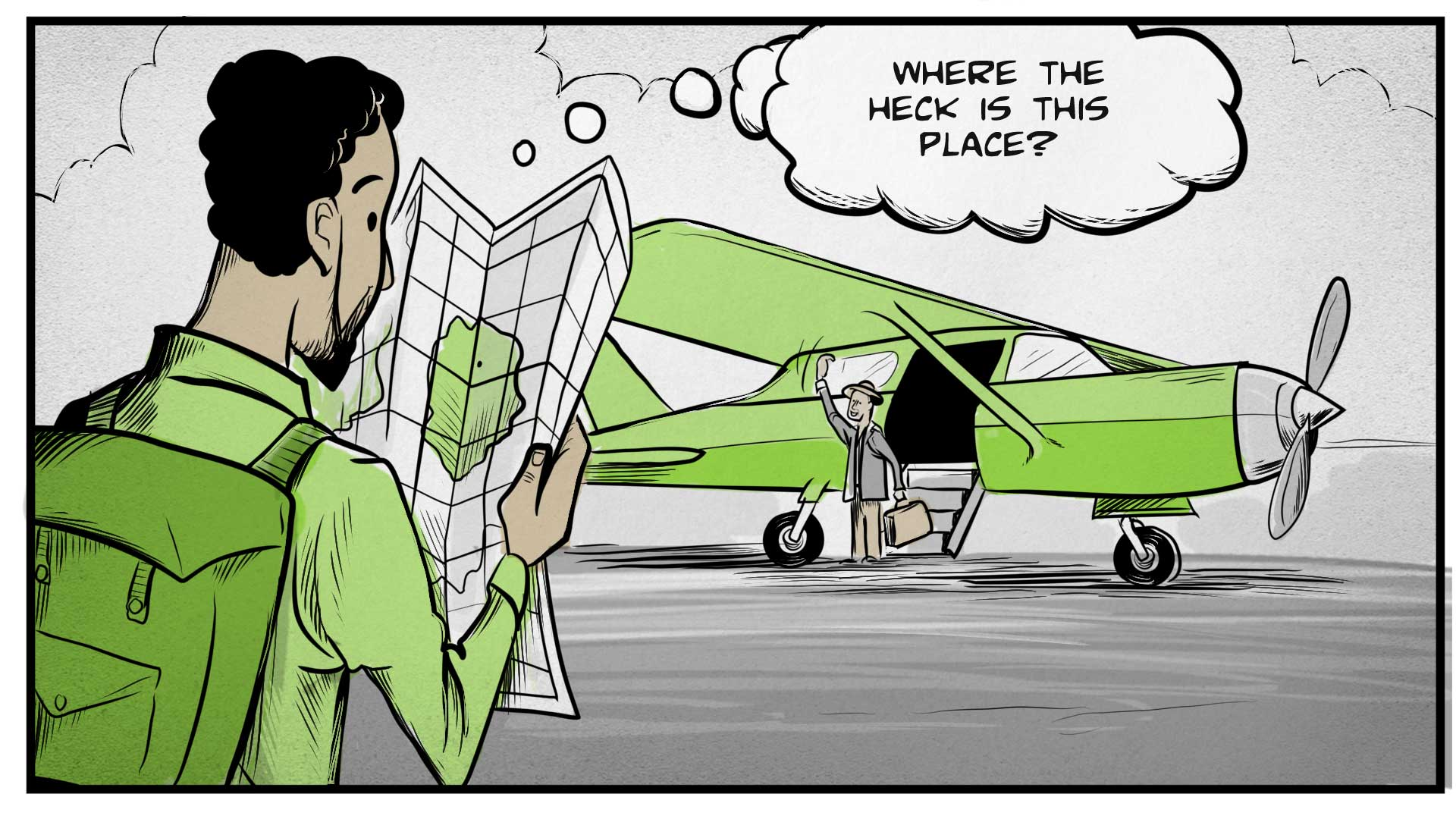 """A man wearing a backpack consults a map. He thinks to himself, """"Where the heck is this place?"""" In front of him is a small, single-engine airplane. A man waves to him from the steps of the plane."""