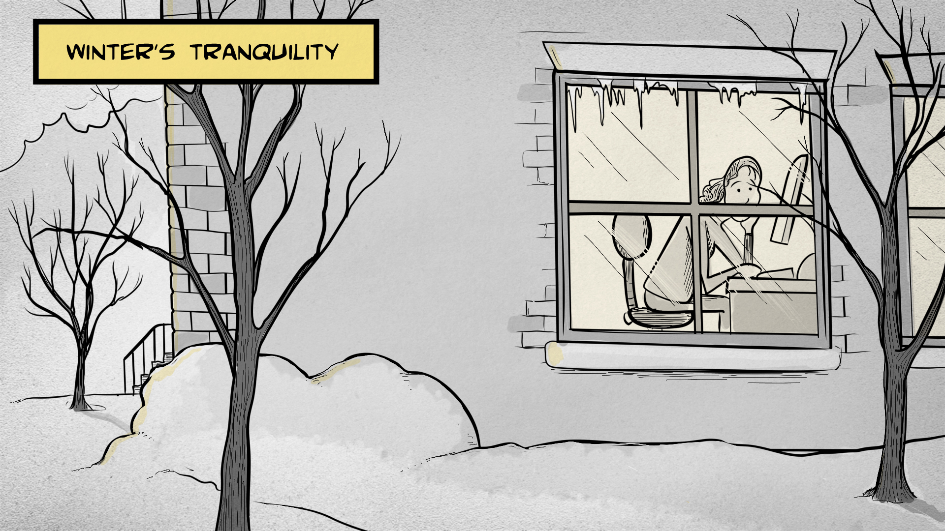 Winter's tranquility: Sasha is sitting at a desk behind a large window, gazing out at a winter scene with snow and bare trees.