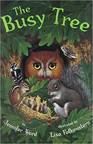 The front cover of the book, A busy Tree.
